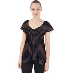 Chevron9 Black Marble & Dark Brown Wood (r) Lace Front Dolly Top