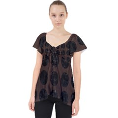 Circles1 Black Marble & Dark Brown Wood Lace Front Dolly Top