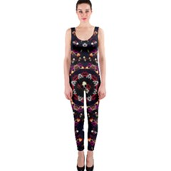 Floral Skulls In The Darkest Environment Onepiece Catsuit by pepitasart