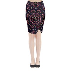 Floral Skulls In The Darkest Environment Midi Wrap Pencil Skirt by pepitasart