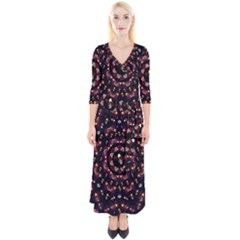 Floral Skulls In The Darkest Environment Quarter Sleeve Wrap Maxi Dress by pepitasart