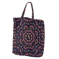 Floral Skulls In The Darkest Environment Giant Grocery Zipper Tote by pepitasart