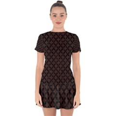 Circles3 Black Marble & Dark Brown Wood Drop Hem Mini Chiffon Dress