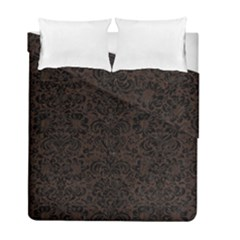 Damask2 Black Marble & Dark Brown Wood Duvet Cover Double Side (full/ Double Size)