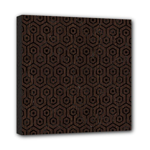 Hexagon1 Black Marble & Dark Brown Wood Mini Canvas 8  X 8  by trendistuff