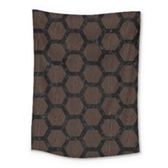 Hexagon2 Black Marble & Dark Brown Wood Medium Tapestry