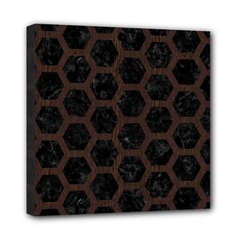 Hexagon2 Black Marble & Dark Brown Wood (r) Mini Canvas 8  X 8  by trendistuff