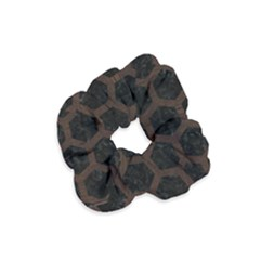 Hexagon2 Black Marble & Dark Brown Wood (r) Velvet Scrunchie