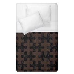 Puzzle1 Black Marble & Dark Brown Wood Duvet Cover (single Size) by trendistuff