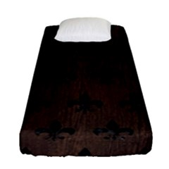 Royal1 Black Marble & Dark Brown Wood (r) Fitted Sheet (single Size) by trendistuff