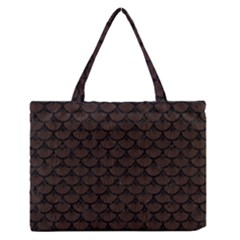 Scales3 Black Marble & Dark Brown Wood Zipper Medium Tote Bag by trendistuff