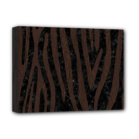 Skin4 Black Marble & Dark Brown Wood Deluxe Canvas 16  X 12   by trendistuff