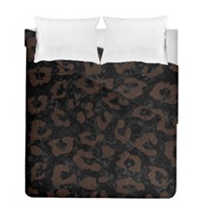 Skin5 Black Marble & Dark Brown Wood Duvet Cover Double Side (full/ Double Size) by trendistuff