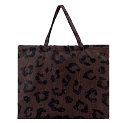 Skin5 Black Marble & Dark Brown Wood (r) Zipper Large Tote Bag by trendistuff