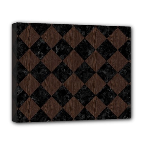 Square2 Black Marble & Dark Brown Wood Deluxe Canvas 20  X 16   by trendistuff