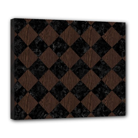 Square2 Black Marble & Dark Brown Wood Deluxe Canvas 24  X 20   by trendistuff