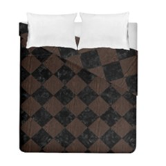 Square2 Black Marble & Dark Brown Wood Duvet Cover Double Side (full/ Double Size)