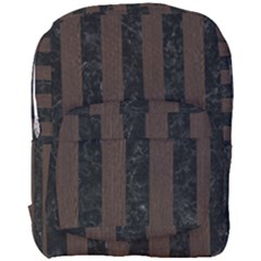 Stripes1 Black Marble & Dark Brown Wood Full Print Backpack by trendistuff