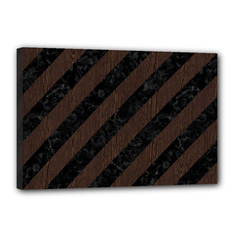 Stripes3 Black Marble & Dark Brown Wood (r) Canvas 18  X 12  by trendistuff