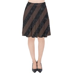 Stripes3 Black Marble & Dark Brown Wood (r) Velvet High Waist Skirt