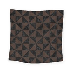 Triangle1 Black Marble & Dark Brown Wood Square Tapestry (small)