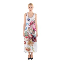 Fleur Vintage Floral Painting Sleeveless Maxi Dress by Celenk