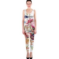 Fleur Vintage Floral Painting Onepiece Catsuit by Celenk