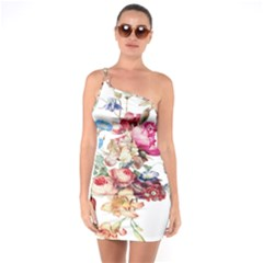 Fleur Vintage Floral Painting One Soulder Bodycon Dress