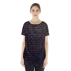 Brick1 Black Marble & Dull Brown Leather (r) Skirt Hem Sports Top by trendistuff