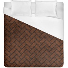 Brick2 Black Marble & Dull Brown Leather Duvet Cover (king Size) by trendistuff