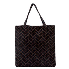 Brick2 Black Marble & Dull Brown Leather (r) Grocery Tote Bag by trendistuff