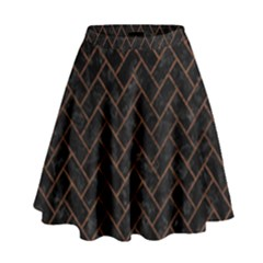 Brick2 Black Marble & Dull Brown Leather (r) High Waist Skirt by trendistuff