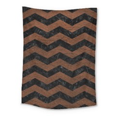 Chevron3 Black Marble & Dull Brown Leather Medium Tapestry