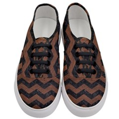 Chevron3 Black Marble & Dull Brown Leather Women s Classic Low Top Sneakers