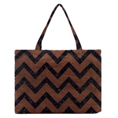 Chevron9 Black Marble & Dull Brown Leather Zipper Medium Tote Bag by trendistuff