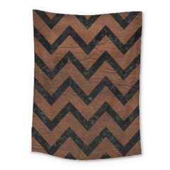 Chevron9 Black Marble & Dull Brown Leather Medium Tapestry