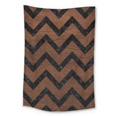 Chevron9 Black Marble & Dull Brown Leather Large Tapestry by trendistuff
