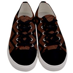 Chevron9 Black Marble & Dull Brown Leather Men s Low Top Canvas Sneakers