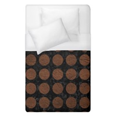 Circles1 Black Marble & Dull Brown Leather (r) Duvet Cover (single Size) by trendistuff