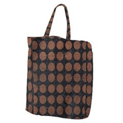 Circles1 Black Marble & Dull Brown Leather (r) Giant Grocery Zipper Tote by trendistuff