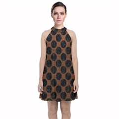 Circles2 Black Marble & Dull Brown Leather Velvet Halter Neckline Dress  by trendistuff