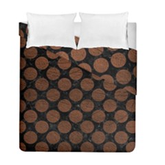 Circles2 Black Marble & Dull Brown Leather (r) Duvet Cover Double Side (full/ Double Size)