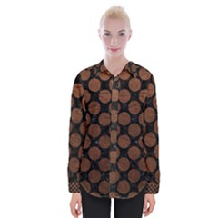 Circles2 Black Marble & Dull Brown Leather (r) Womens Long Sleeve Shirt