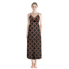 Circles3 Black Marble & Dull Brown Leather (r) Button Up Chiffon Maxi Dress by trendistuff