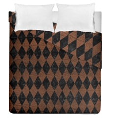 Diamond1 Black Marble & Dull Brown Leather Duvet Cover Double Side (queen Size)