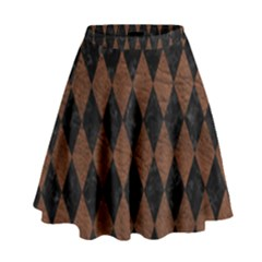 Diamond1 Black Marble & Dull Brown Leather High Waist Skirt by trendistuff
