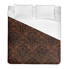 Damask1 Black Marble & Dull Brown Leather Duvet Cover (full/ Double Size) by trendistuff