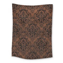 Damask1 Black Marble & Dull Brown Leather Medium Tapestry