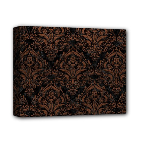 Damask1 Black Marble & Dull Brown Leather (r) Deluxe Canvas 14  X 11  by trendistuff