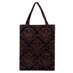 Damask1 Black Marble & Dull Brown Leather (r) Classic Tote Bag by trendistuff
